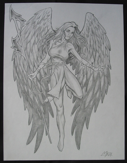 Original pencil drawing of Angel by Mark Kuettner Beautiful piece of art